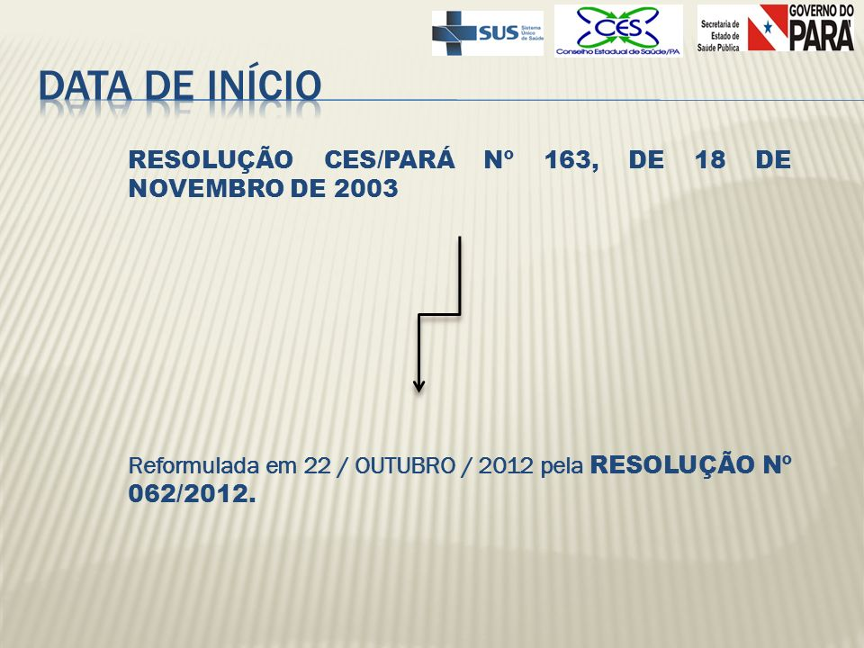 RESOLUÇÃO CES/PARÁ Nº 163, DE 18 DE NOVEMBRO DE 2003 Reformulada em 22 / OUTUBRO / 2012 pela RESOLUÇÃO Nº 062/2012.