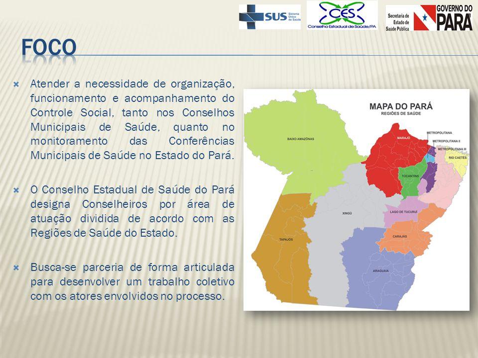 REGIÃO DO ARAGUAIA (12º CR) (15 Municípios): Água Azul do Norte - Bannach - Conceição do Araguaia - Cumaru do Norte - Floresta do Araguaia - Ourilândia do Norte - Pau D Arco - Redenção - Rio Maria - Santa Maria das Barreiras - Santana do Araguaia - São Félix do Xingú - Sapucaia - Tucumã - Xinguara REGIÃO METROPOLITANA I (1º) (05 Municípios) Ananindeua - Belém - Benevides – Marituba -Santa Bárbara do Pará REGIÃO METROPOLITANA II (2º CR) (09 Municípios): Acará - Bujaru – Colares - Concórdia do Pará - Santa Isabel do Pará - Santo Antônio do Tauá - São Caetano de Odivelas - Tomé-Açu - Vigia REGIÃO METROPOLITANA III (3º e 5º RS) (22 Municípios): Aurora do Pará – Castanhal - Capitão Poço –Curuçá - Garrafão do Norte - Igarapé-Açu –Inhangapi - Ipixuna do Pará – Irituia - Mãe do Rio - Magalhães Barata – Maracanã – Marapanim - Nova Esperança do Piriá – Paragominas - Santa Maria do Pará - São Domingos do Capim - São Francisco do Pará - São João da Ponta - São Miguel do Guamá - Terra Alta – Ulianópolis.