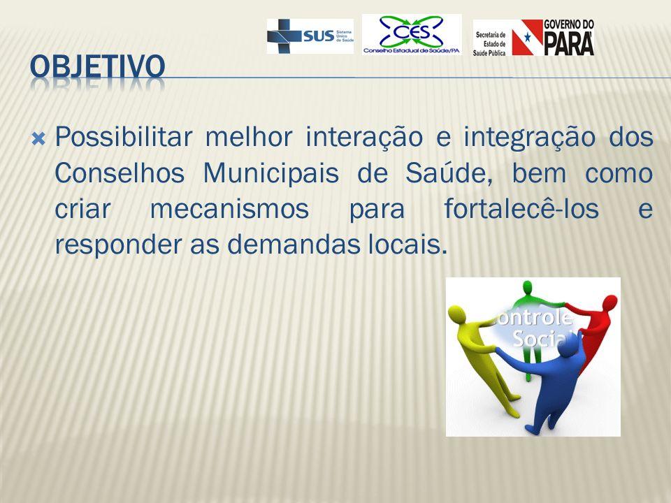 Conselheiro de Área ocorre com a divisão dos 143 municípios do Estado do Pará, por Regiões de Saúde, ficando Grupo Conselheiro responsável por uma área de atuação.