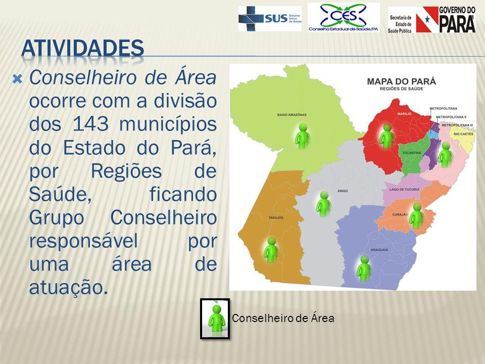 Conselheiro de Área ocorre com a divisão dos 143 municípios do Estado do Pará, por Regiões de Saúde, ficando Grupo Conselheiro responsável por uma áre