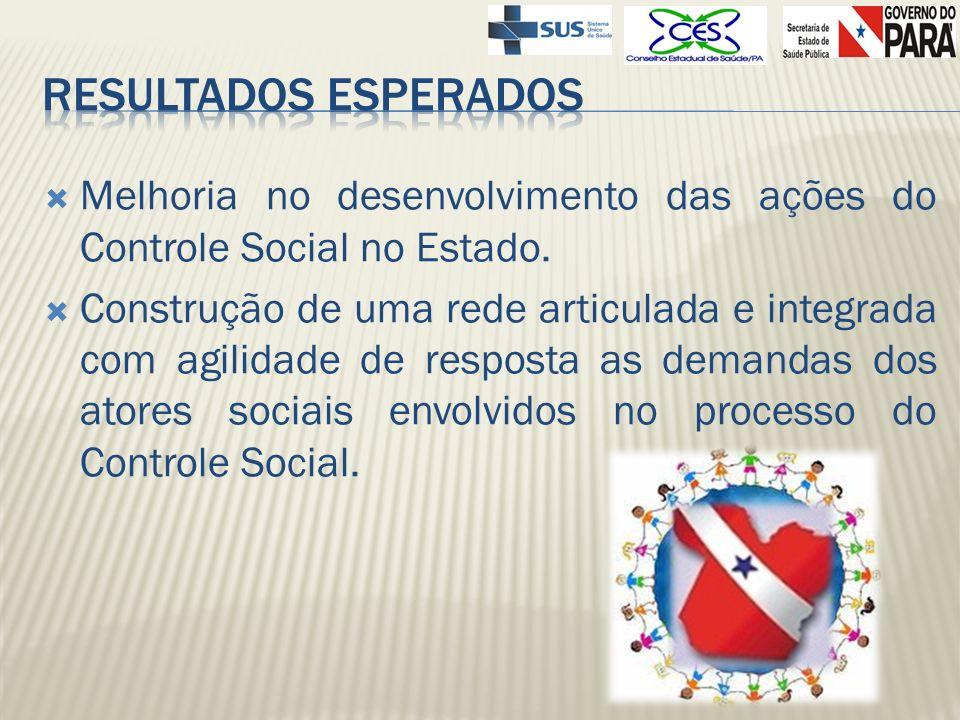 Melhoria no desenvolvimento das ações do Controle Social no Estado. Construção de uma rede articulada e integrada com agilidade de resposta as demanda