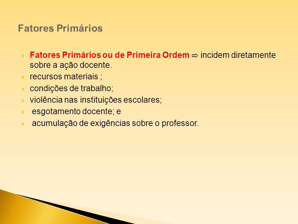 Fatores Primários ou de Primeira Ordem incidem diretamente sobre a ação docente. recursos materiais ; condições de trabalho; violência nas instituiçõe