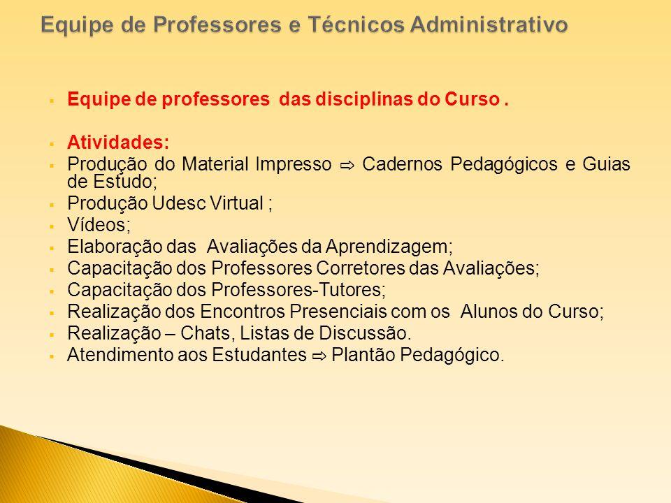 Equipe de professores das disciplinas do Curso. Atividades: Produção do Material Impresso Cadernos Pedagógicos e Guias de Estudo; Produção Udesc Virtu