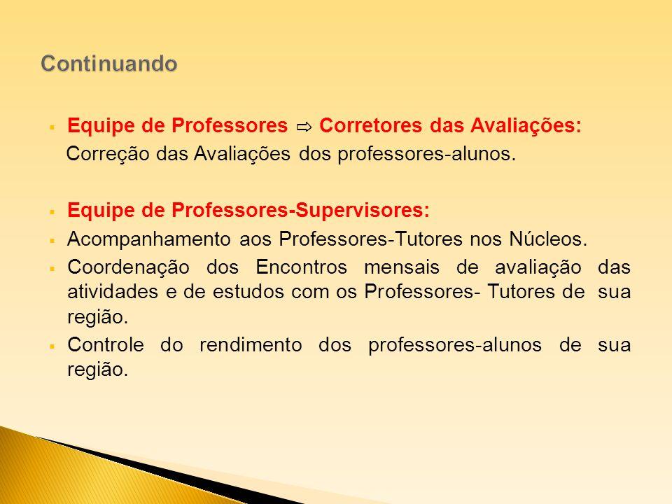 Equipe de Professores Corretores das Avaliações: Correção das Avaliações dos professores-alunos. Equipe de Professores-Supervisores: Acompanhamento ao