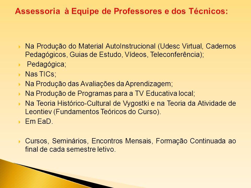 Na Produção do Material AutoInstrucional (Udesc Virtual, Cadernos Pedagógicos, Guias de Estudo, Vídeos, Teleconferência); Pedagógica; Nas TICs; Na Pro