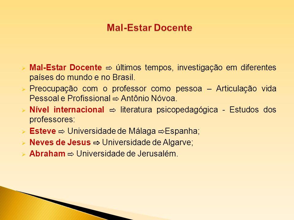 Mal-Estar Docente últimos tempos, investigação em diferentes países do mundo e no Brasil. Preocupação com o professor como pessoa – Articulação vida P