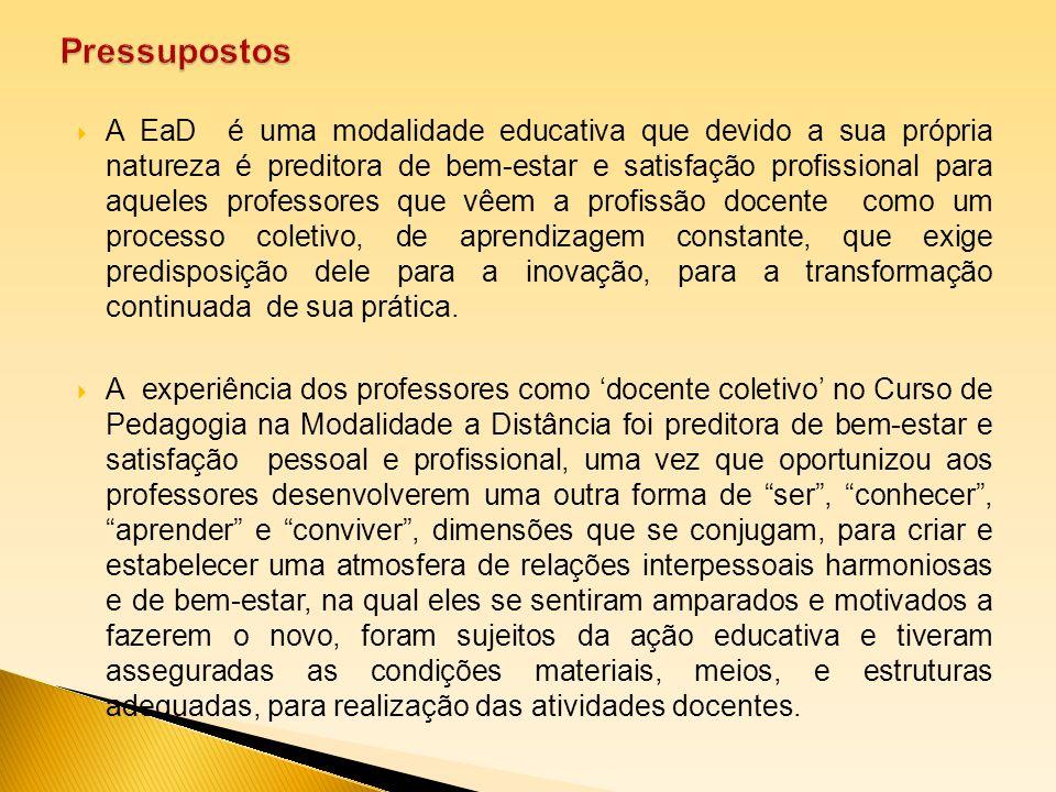 A EaD é uma modalidade educativa que devido a sua própria natureza é preditora de bem-estar e satisfação profissional para aqueles professores que vêe