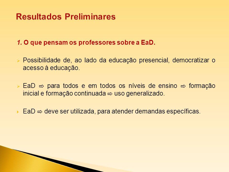 1. O que pensam os professores sobre a EaD. Possibilidade de, ao lado da educação presencial, democratizar o acesso à educação. EaD para todos e em to