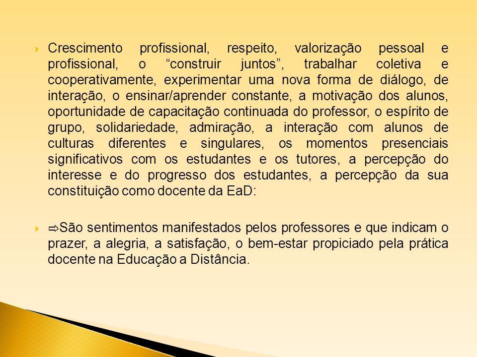 Crescimento profissional, respeito, valorização pessoal e profissional, o construir juntos, trabalhar coletiva e cooperativamente, experimentar uma no
