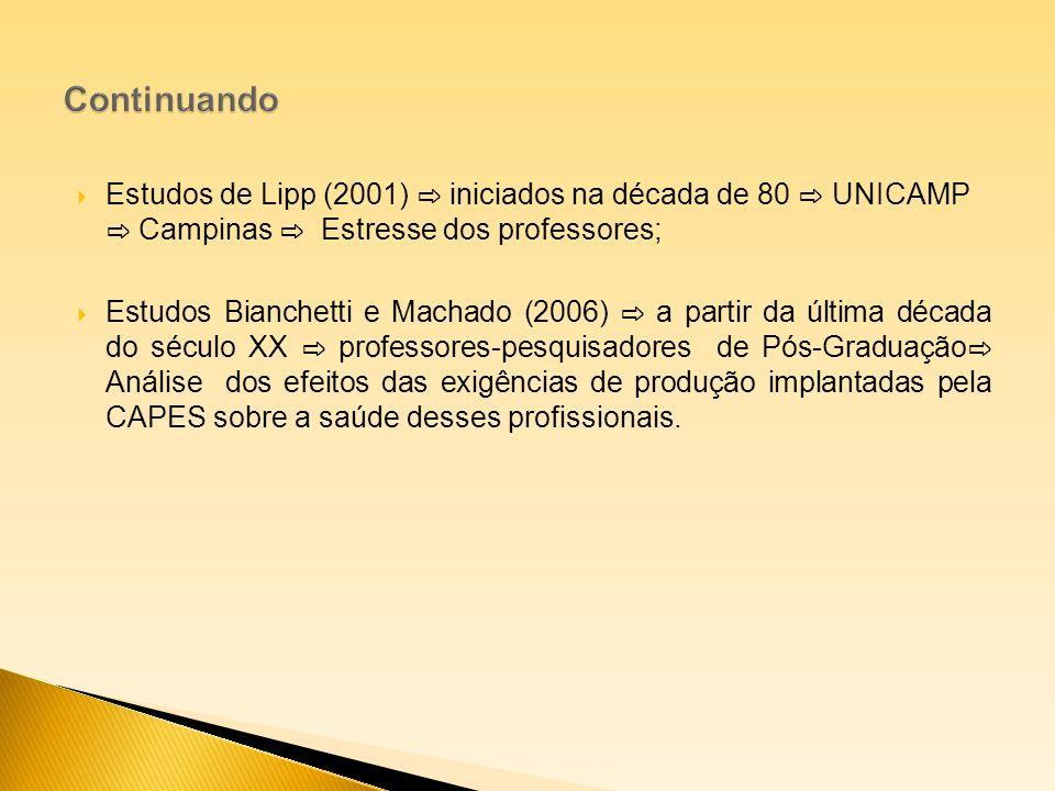 Estudos de Lipp (2001) iniciados na década de 80 UNICAMP Campinas Estresse dos professores; Estudos Bianchetti e Machado (2006) a partir da última déc