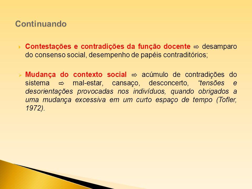 Contestações e contradições da função docente desamparo do consenso social, desempenho de papéis contraditórios; Mudança do contexto social acúmulo de