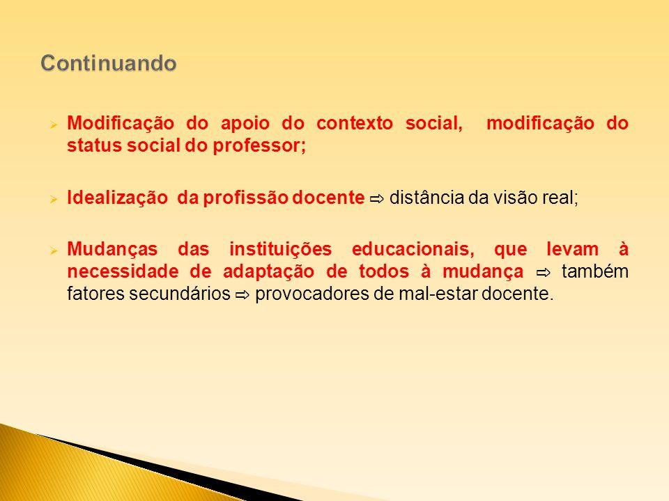 Modificação do apoio do contexto social, modificação do status social do professor; Idealização da profissão docente distância da visão real; Mudanças