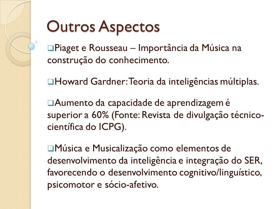 Outros Aspectos Piaget e Rousseau – Importância da Música na construção do conhecimento. Howard Gardner: Teoria da inteligências múltiplas. Aumento da