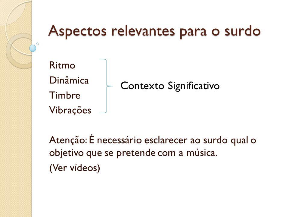 Aspectos relevantes para o surdo Ritmo Dinâmica Timbre Vibrações Atenção: É necessário esclarecer ao surdo qual o objetivo que se pretende com a músic