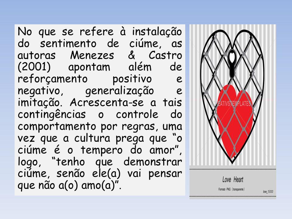 No que se refere à instalação do sentimento de ciúme, as autoras Menezes & Castro (2001) apontam além de reforçamento positivo e negativo, generalizaç