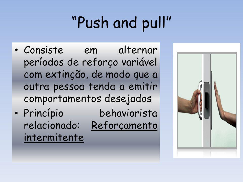 Push and pull Consiste em alternar períodos de reforço variável com extinção, de modo que a outra pessoa tenda a emitir comportamentos desejados Princ