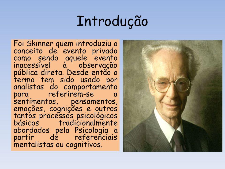 Introdução Foi Skinner quem introduziu o conceito de evento privado como sendo aquele evento inacessível à observação pública direta. Desde então o te