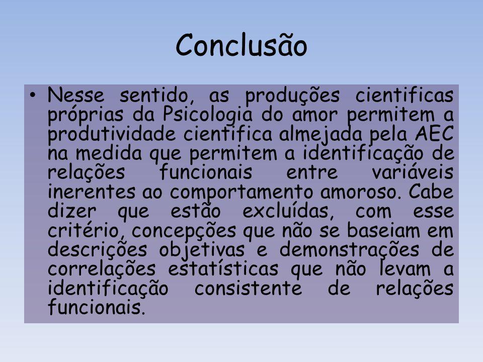 Conclusão Nesse sentido, as produções cientificas próprias da Psicologia do amor permitem a produtividade cientifica almejada pela AEC na medida que p