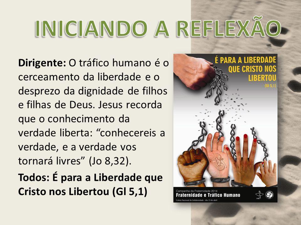 Dirigente: O tráfico humano é o cerceamento da liberdade e o desprezo da dignidade de filhos e filhas de Deus. Jesus recorda que o conhecimento da ver