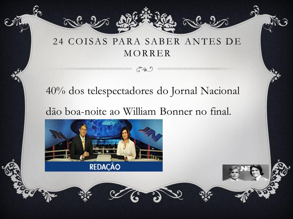 24 COISAS PARA SABER ANTES DE MORRER 40% dos telespectadores do Jornal Nacional dão boa-noite ao William Bonner no final.