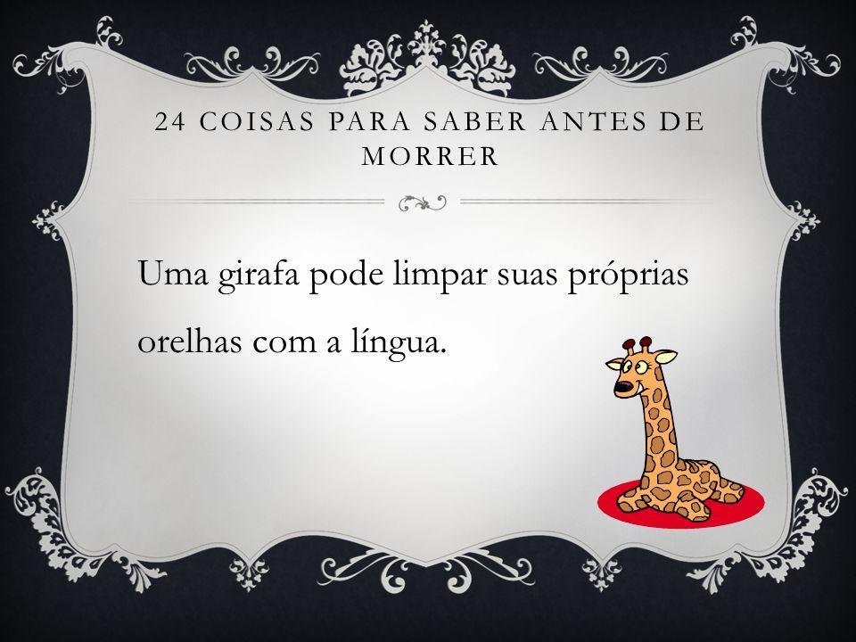 24 COISAS PARA SABER ANTES DE MORRER Uma girafa pode limpar suas próprias orelhas com a língua.