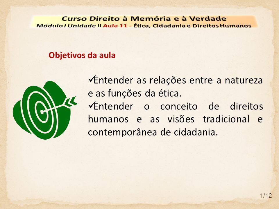 Entender as relações entre a natureza e as funções da ética.