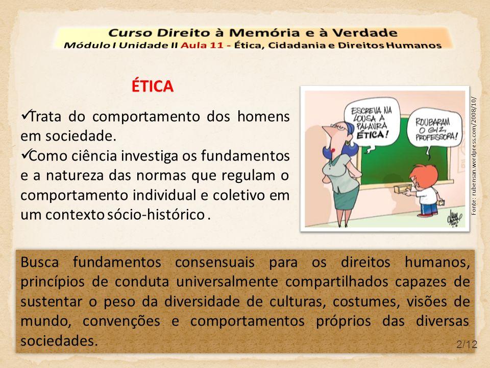 3/12 CIDADANIA Conjunto formalmente definido de direitos e obrigações de um indivíduo perante a sociedade.