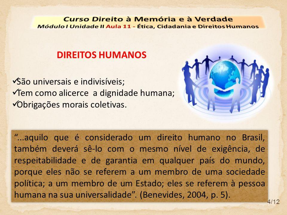 DIREITOS HUMANOS...aquilo que é considerado um direito humano no Brasil, também deverá sê-lo com o mesmo nível de exigência, de respeitabilidade e de garantia em qualquer país do mundo, porque eles não se referem a um membro de uma sociedade política; a um membro de um Estado; eles se referem à pessoa humana na sua universalidade.