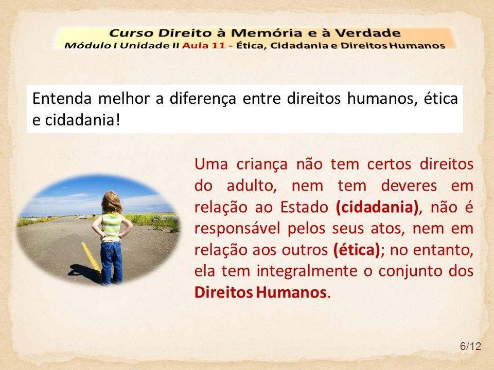 6/12 Entenda melhor a diferença entre direitos humanos, ética e cidadania.