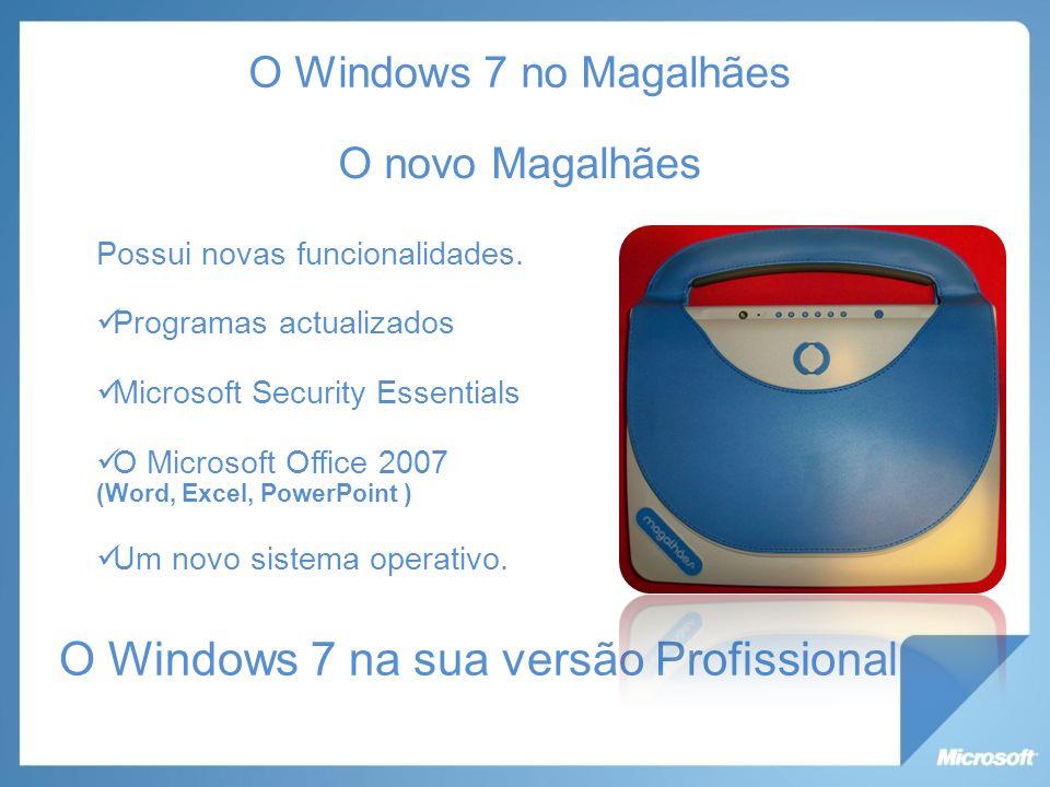 O Windows 7 no Magalhães O novo Magalhães Possui novas funcionalidades.