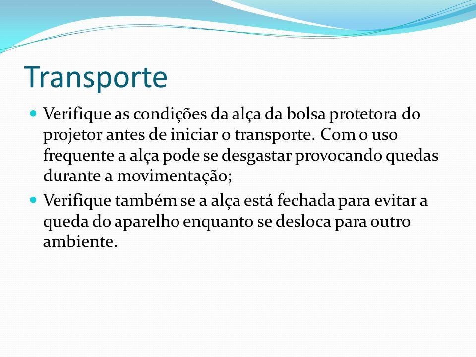 Transporte Verifique as condições da alça da bolsa protetora do projetor antes de iniciar o transporte. Com o uso frequente a alça pode se desgastar p