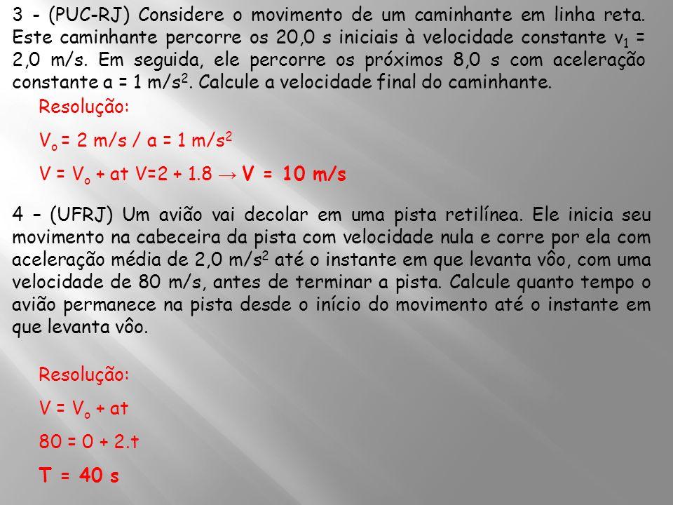 3 - (PUC-RJ) Considere o movimento de um caminhante em linha reta. Este caminhante percorre os 20,0 s iniciais à velocidade constante v 1 = 2,0 m/s. E