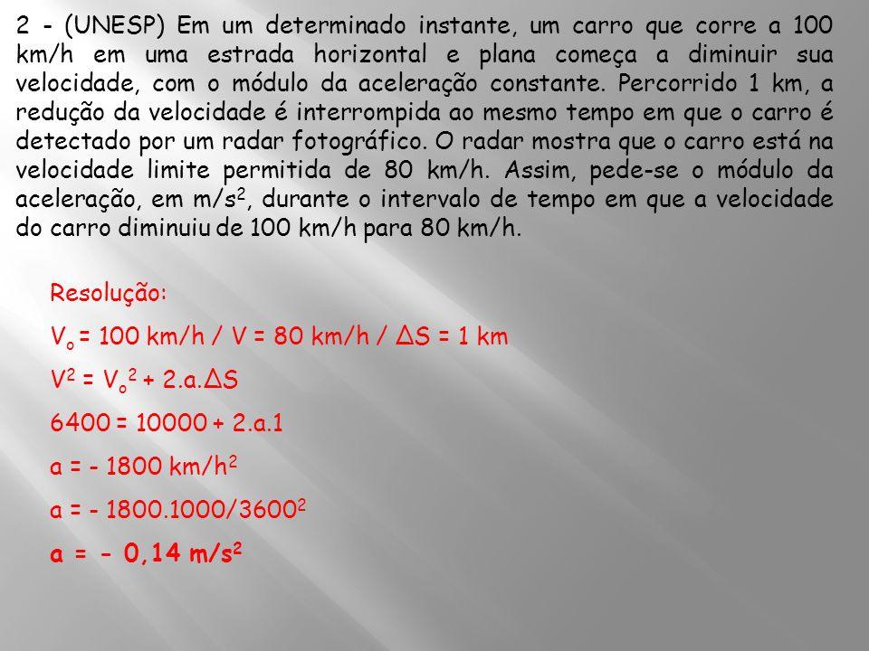 2 - (UNESP) Em um determinado instante, um carro que corre a 100 km/h em uma estrada horizontal e plana começa a diminuir sua velocidade, com o módulo