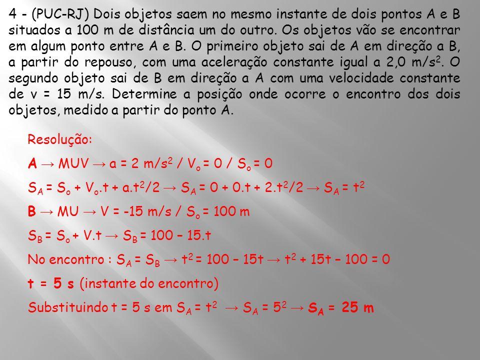 4 - (PUC-RJ) Dois objetos saem no mesmo instante de dois pontos A e B situados a 100 m de distância um do outro. Os objetos vão se encontrar em algum