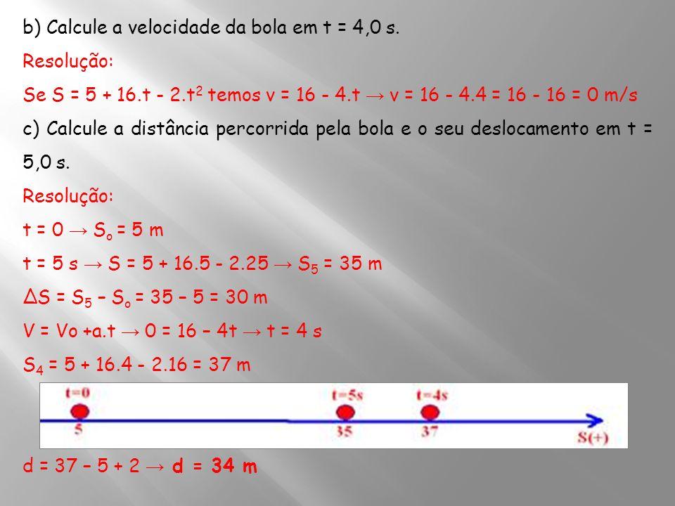 b) Calcule a velocidade da bola em t = 4,0 s. Resolução: Se S = 5 + 16.t - 2.t 2 temos v = 16 - 4.t v = 16 - 4.4 = 16 - 16 = 0 m/s c) Calcule a distân