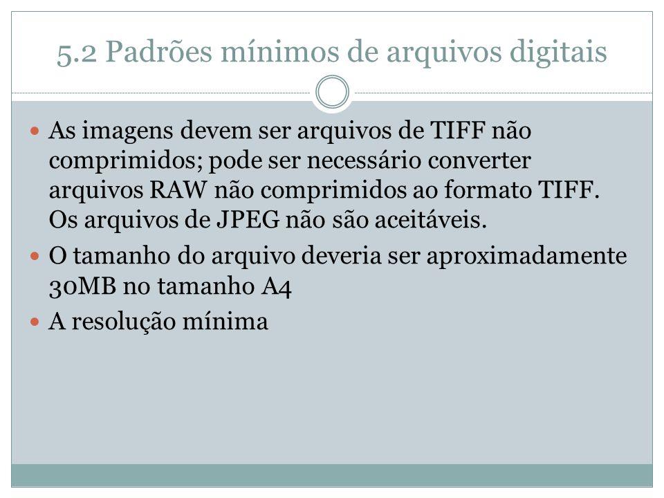 5.2 Padrões mínimos de arquivos digitais As imagens devem ser arquivos de TIFF não comprimidos; pode ser necessário converter arquivos RAW não comprim