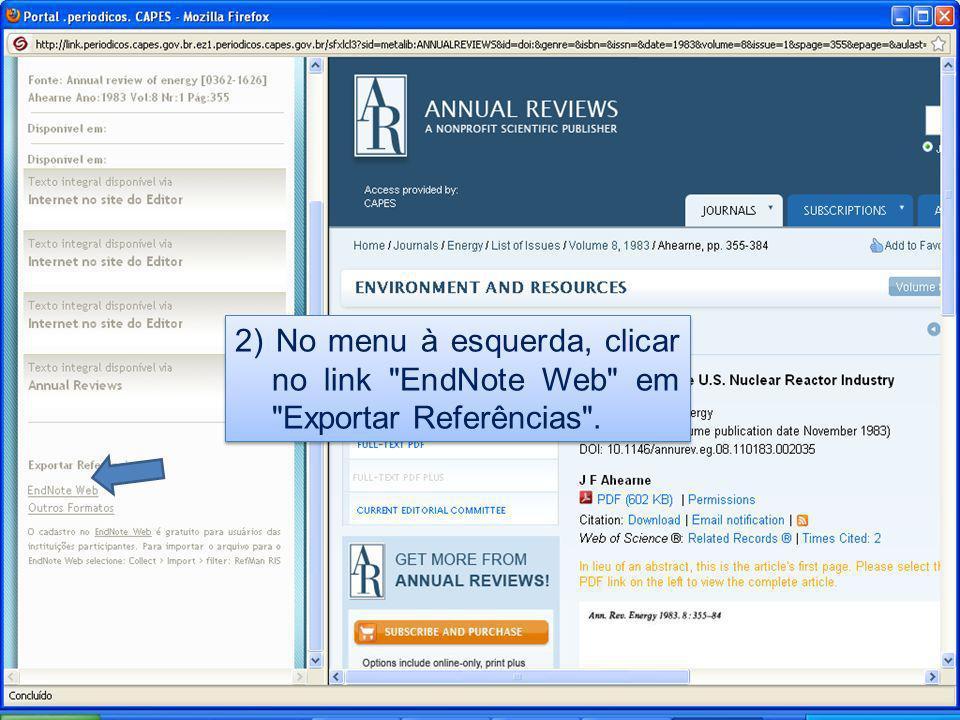 3) Aparecerá na tela o registro no formato do EndNote Web.