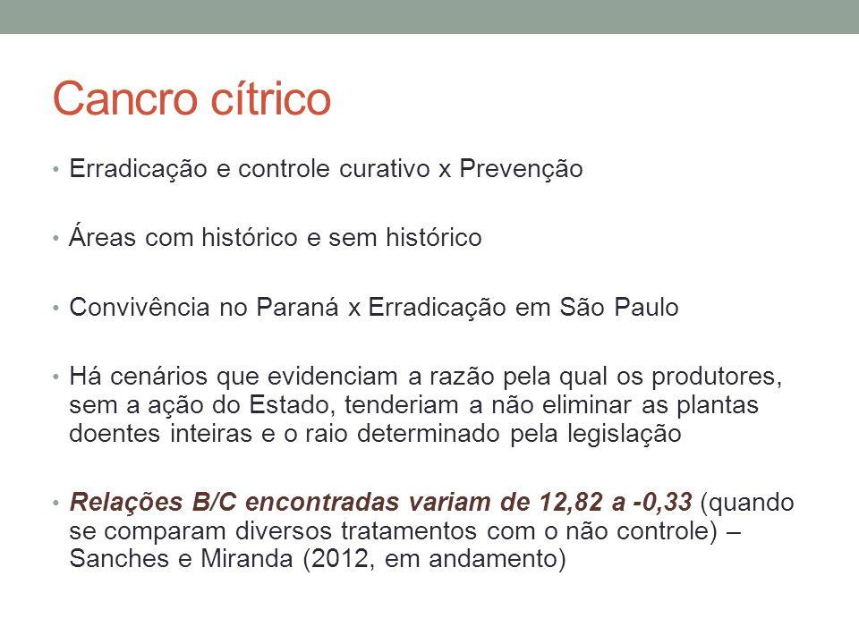 Cancro cítrico Erradicação e controle curativo x Prevenção Áreas com histórico e sem histórico Convivência no Paraná x Erradicação em São Paulo Há cen