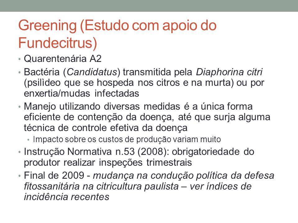 Greening (Estudo com apoio do Fundecitrus) Quarentenária A2 Bactéria (Candidatus) transmitida pela Diaphorina citri (psilìdeo que se hospeda nos citro