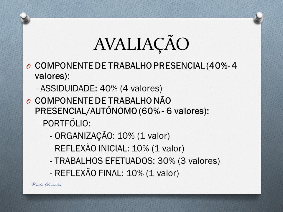AVALIAÇÃO O COMPONENTE DE TRABALHO PRESENCIAL (40%- 4 valores): - ASSIDUIDADE: 40% (4 valores) O COMPONENTE DE TRABALHO NÃO PRESENCIAL/AUTÓNOMO (60% -