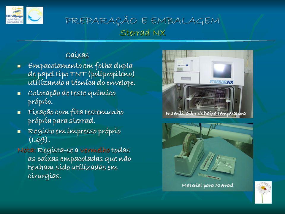 PREPARAÇÃO E EMBALAGEM Sterrad NX Caixas Empacotamento em folha dupla de papel tipo TNT (polipropileno) utilizando a técnica do envelope. Empacotament