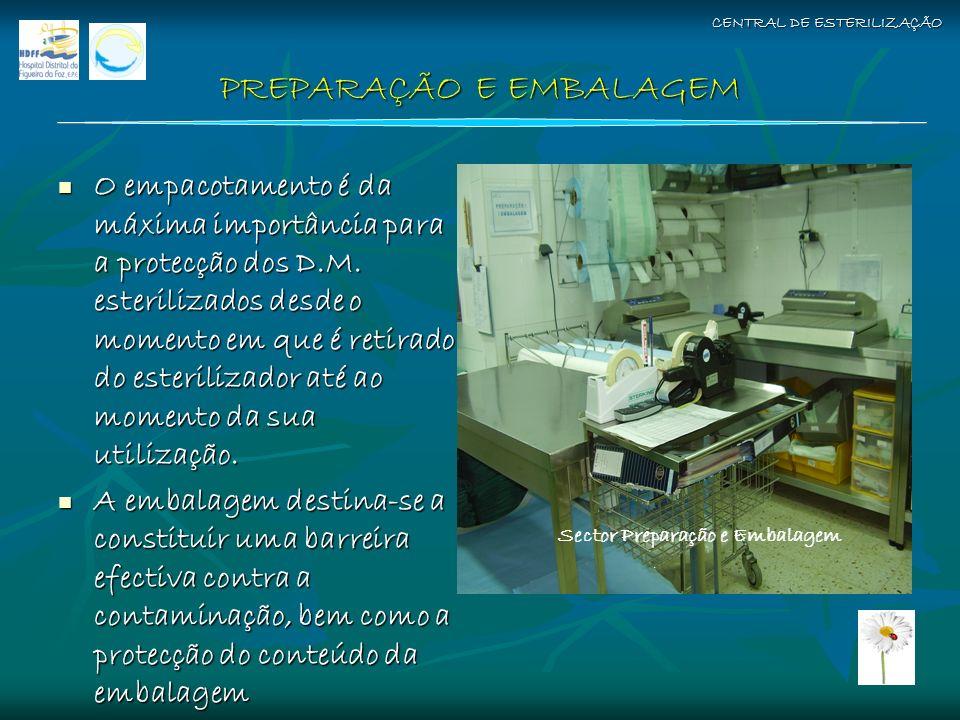 PREPARAÇÃO E EMBALAGEM O empacotamento é da máxima importância para a protecção dos D.M. esterilizados desde o momento em que é retirado do esteriliza