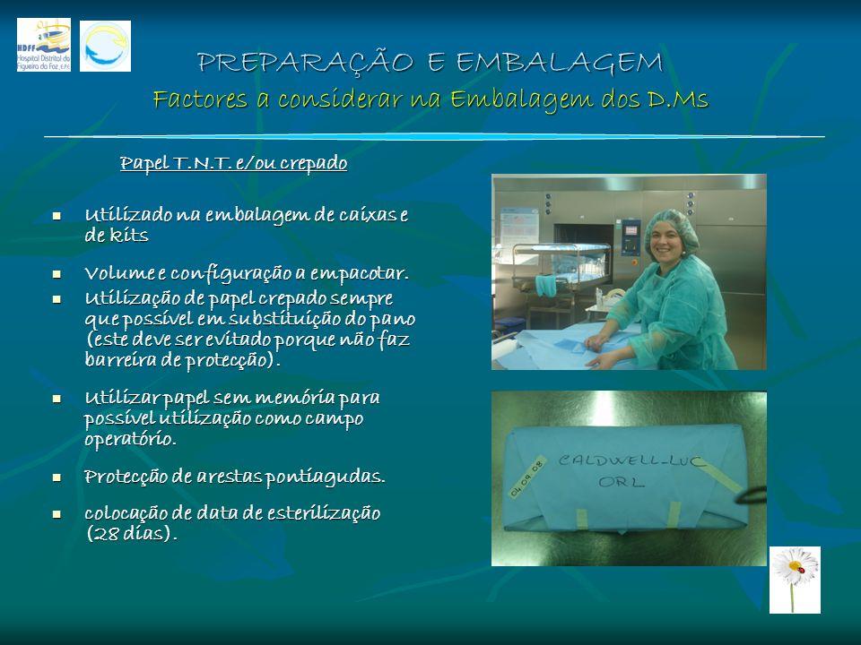 PREPARAÇÃO E EMBALAGEM Factores a considerar na Embalagem dos D.Ms Papel T.N.T. e/ou crepado Utilizado na embalagem de caixas e de kits Utilizado na e
