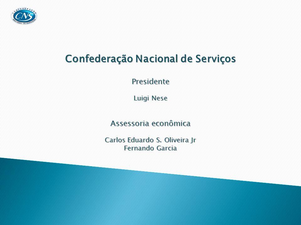 Confederação Nacional de Serviços Presidente Luigi Nese Assessoria econômica Carlos Eduardo S. Oliveira Jr Fernando Garcia
