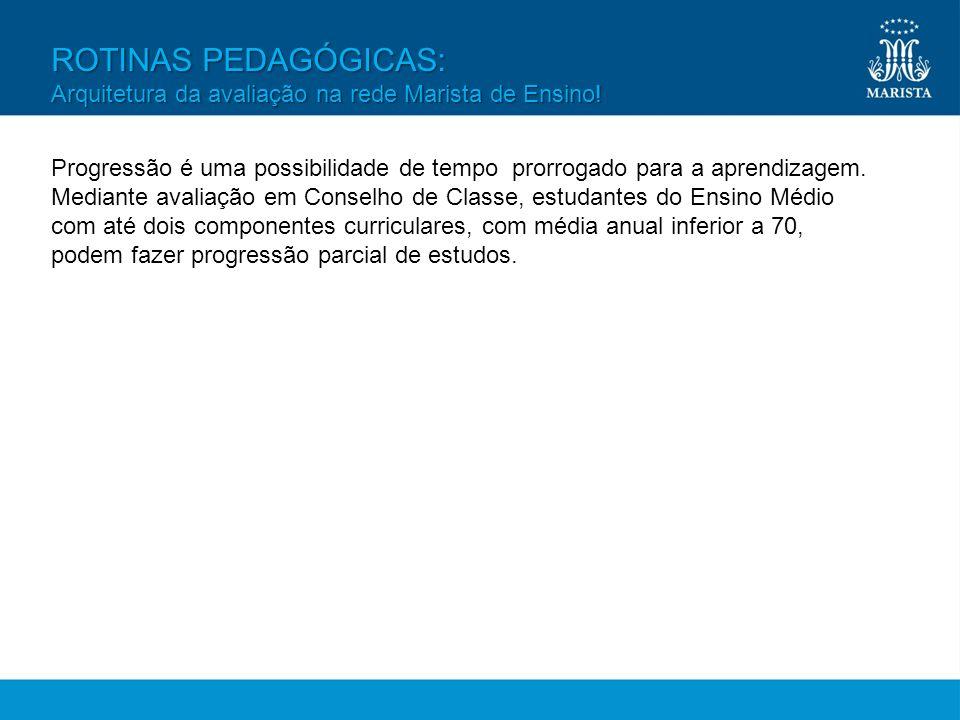 ROTINAS PEDAGÓGICAS: Arquitetura da avaliação na rede Marista de Ensino! Progressão é uma possibilidade de tempo prorrogado para a aprendizagem. Media