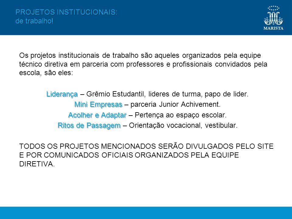 Os projetos institucionais de trabalho são aqueles organizados pela equipe técnico diretiva em parceria com professores e profissionais convidados pel
