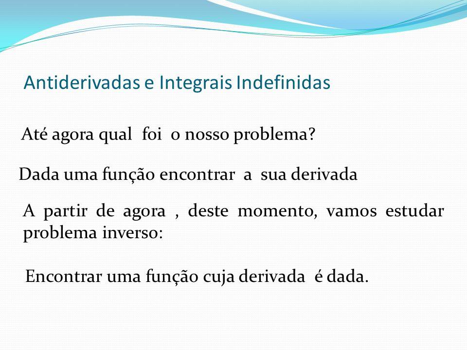 Antiderivadas e Integrais Indefinidas Até agora qual foi o nosso problema.
