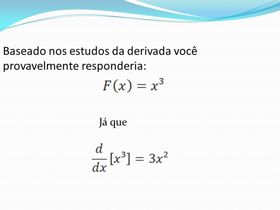 A função F é chamada antiderivada de F, assim, É uma antiderivada de