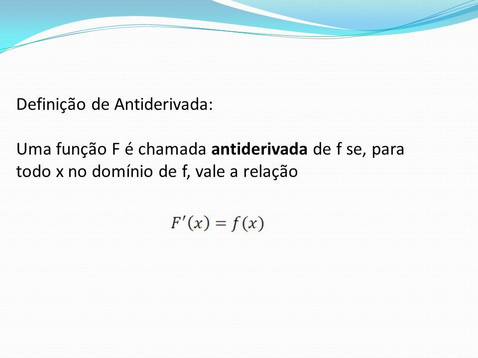 Definição de Antiderivada: Uma função F é chamada antiderivada de f se, para todo x no domínio de f, vale a relação
