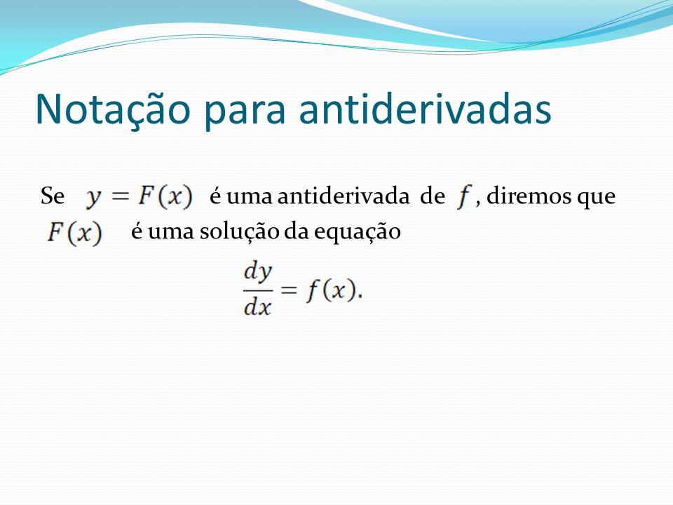 Notação para antiderivadas Se é uma antiderivada de, diremos que é uma solução da equação